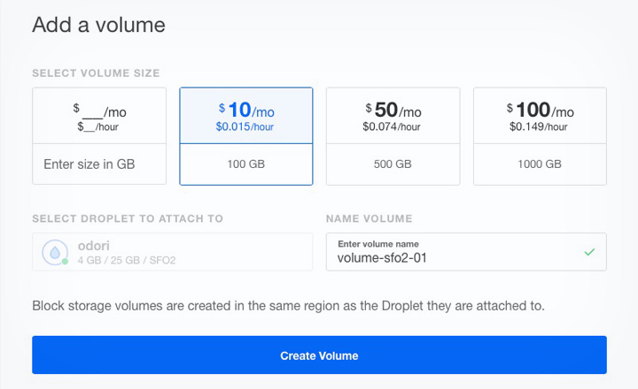 DigitalOcean Create New Volume