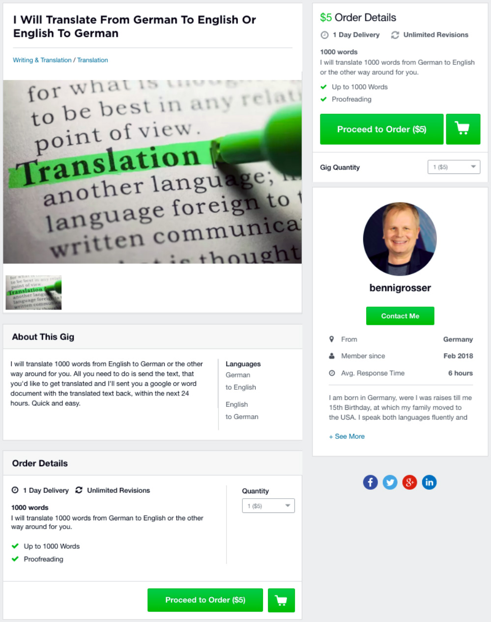 Fiverr Translate English to German Gig 1