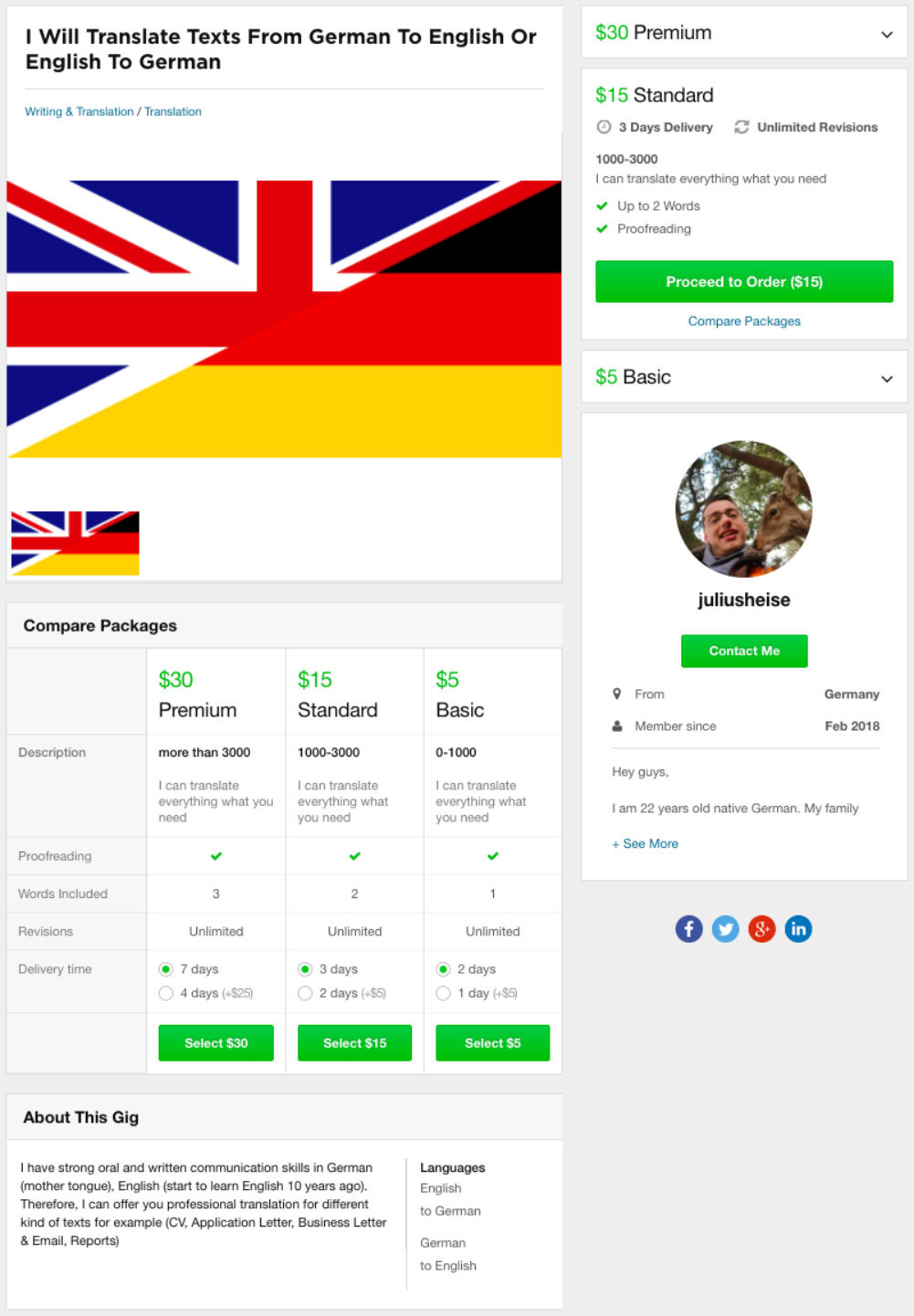Fiverr Translate English to German Gig 2