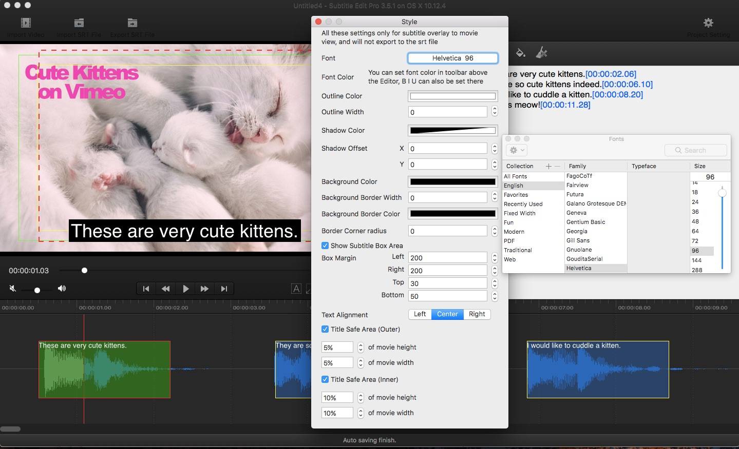 Adjusting font size for hardcoded subtitles on mac video converter cute kittens subtitle edit pro ccuart Gallery
